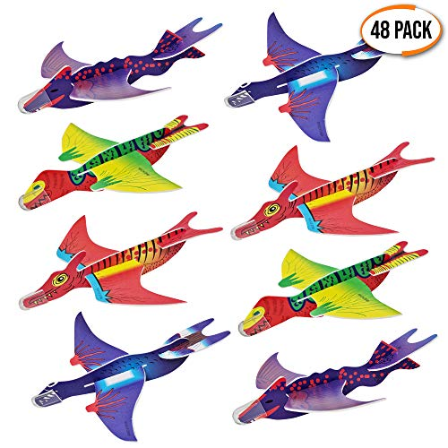 THE TWIDDLERS 48 aerei dinosauro. Aeroplani giocattolo in 4 diversi modelli. Alianti Volanti Perfetti come regalini da festa, ricompense di classe e per riempire i sacchetti regalo per bambini