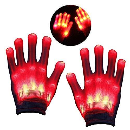 r Mädchen ab 5-12 Jahre, Kinder LED Blinklicht Bunte Rave Handschuhe Rot Weihnachten G09 ()