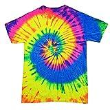 Colortone Rainbow Tie Dye Top de Manga Corta Camiseta de la Mujer Neon Rainbow Small