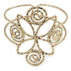 Idea Regalo - Stile egiziano arricciatura superiore, dorato, per braccio, design antico, In alluminio placcato oro, altezza regolabile