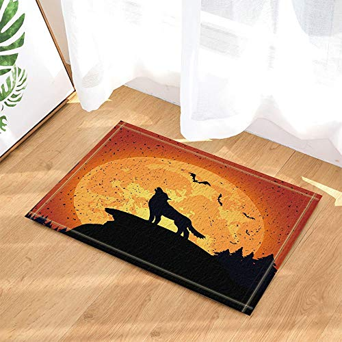 fuhuaxi Grunge Halloween Nacht Hintergrund mit Wolf und Full Moon Decor Bad Teppiche Rutschfeste Fußmatte Bodeneingänge Indoor Haustür Matte Kids Badematte 60X40CM Bad-Accessoires
