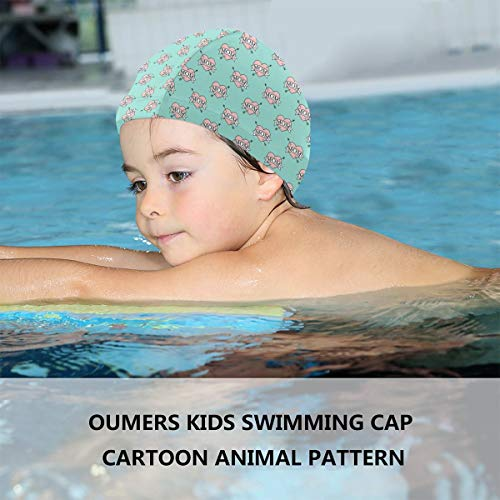 imming Cap Mom Heart Tattoo Teal Silicone Waterproof Swim Cap Bathing Hair Quick Drying for Kids ()