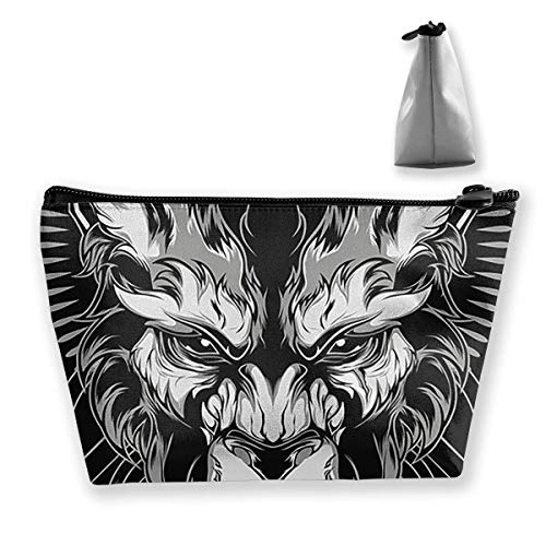 Tiger Logo Women Cosmetic Bags Portable Pouch Trapezoidal Storage Bag Travel Bag with Zipper (Halloween-make-up Tiger Lady)