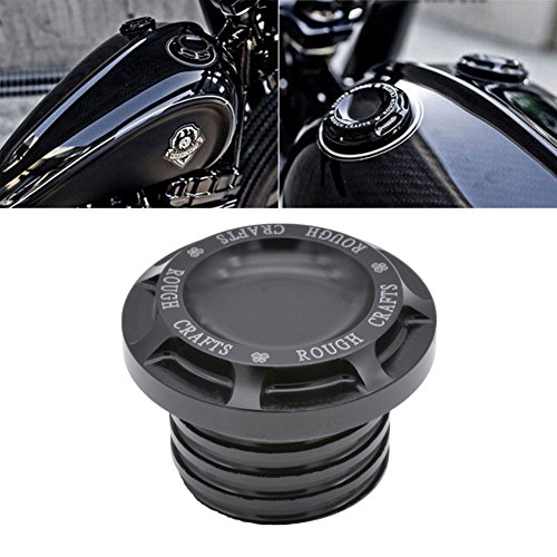 TUINCYN Black Motorcycle Aluminum Fuel Gas Oil Cap ROUGH CRAFTS Decorative  Cap Cover for Harley Sportster XL1200 883 1996-2014 (1 pcs)