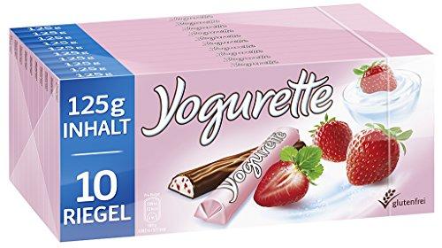 Yogurette Erdbeer, 10er Pack (10 x 125g Tafel) (Granatapfel Limited-edition)