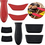 SooFam Silicone Hot Handle Holder, 8 Piece Pot Holders Cover Rubber Hot Resistant Non Slip Pot Holder Sleeves