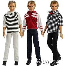 Miunana 3 Juegos de Ropa Casual Vestir Traje Camisas y Pantalones para Novio Ken Príncipe Muñeco Barbie Doll