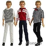 Miunana 3 Kleider Set Shirt Tops und Hosen Kleid Kleidung für Barbie Puppen Fashionistas KEN Geschenk