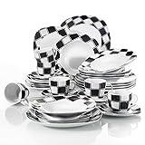 """Veweet """"Nicole"""" Servizio da tavola in porcellana 30set servizio combinato comprende tazze da caffè 175ml,piattino,piatti da dessert,piatti da portata e piatti a base di zuppa per 6 person"""