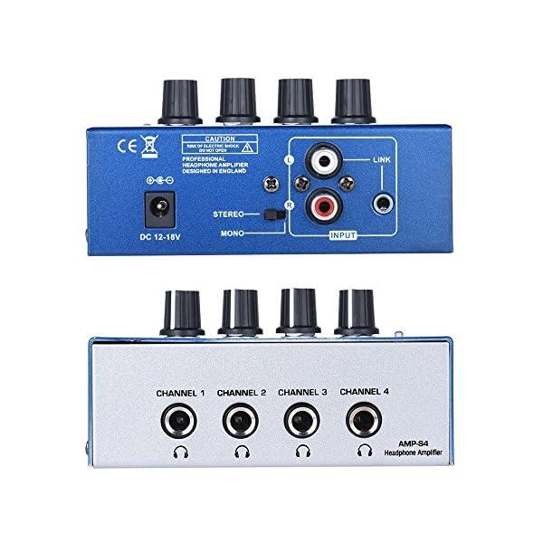 ammoon Ultra-compatta 4 Canali Mini Audio Stereo di Ingresso per Cuffie Amplificatore TRS RCA con Adattatore di Alimentazione