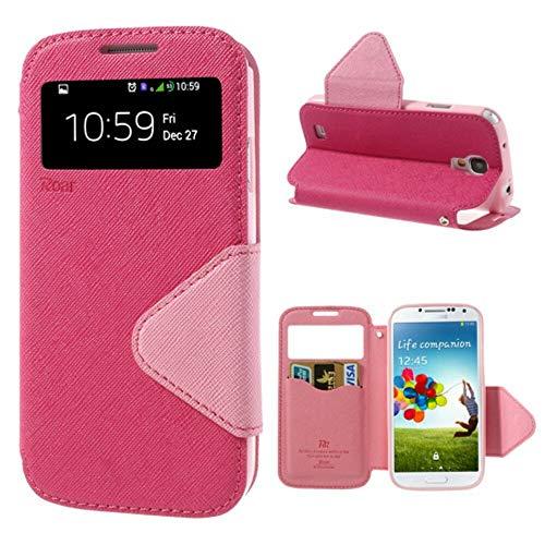 Handyschutz in Perfektion   Handyhülle Für Samsung Galaxy S4 Mini   Ultra Slim Premium Flip Cover Handy Tasche Schutz Hülle mit Ständer Silikon Innen Schale Original Roar Fancy Case   Pink Rosa (Cover S4 Handy Flip)