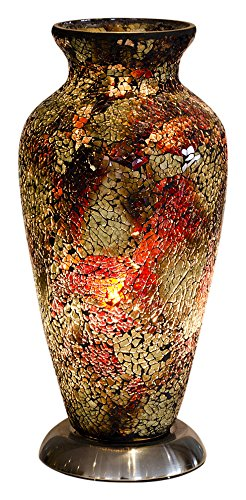 Febland Amber Mosaic Glass Vase Lamp, Glass