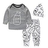 Yilaku Bebe Niñas Camisetas de Manga Larga y Pantalones con Cintas de Pelo Recien Nacido Niñas Otoño Invierno Ropa