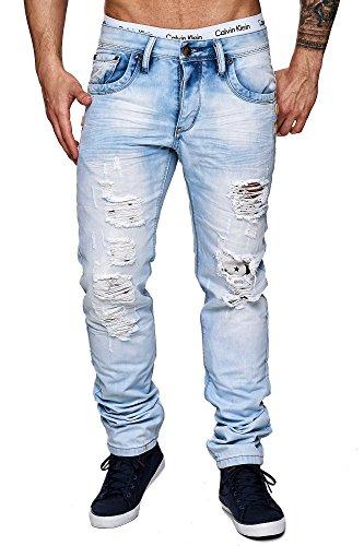 MEGASTYL Herren Hose Stone-Washed Jeans Hell-Blau Slim-Fit 5-Pocket Stretch-Denim, GRÖSSE:W36 / L32 (Denim-stoff Stonewashed)
