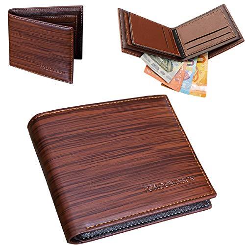 POSEIDON DESIGN Herren Geldbeutel ohne Münzfach - 7 Kartenfächer - Moderne Geldbörse - Schmales Design - Schicke Holzoptik - Designer Brieftasche - Slim Männer-Portemonnaie - Braun