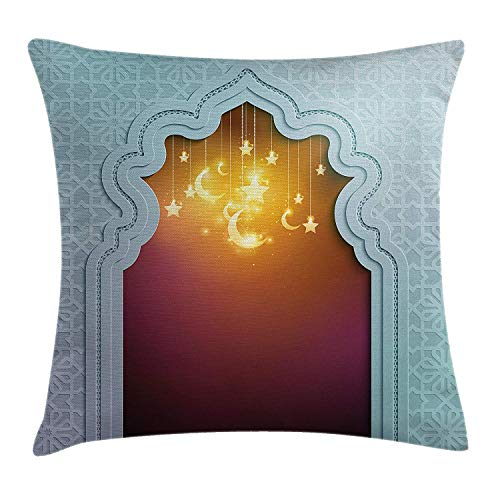 Moroccan Throw Pillow Cushion Cover, Door with Star and Moon Artistic Style Arabic Words Oriental Design, Decorative Square Accent Pillow Case, 18 X 18 Inches, Pale Blue Maroon Apricot -