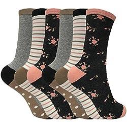 Tom Franks - Mujer 6 pares de algodon divertidos rayas media estampados vestir calcetines en 10 estilos (37-42 eur, LTF08)