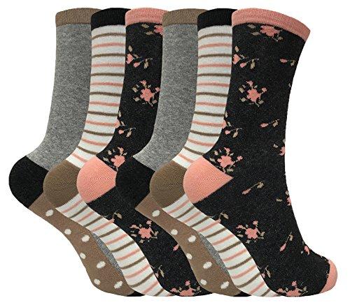 tom-franks-mujer-6-pares-de-algodon-divertidos-rayas-media-estampados-vestir-calcetines-en-10-estilo