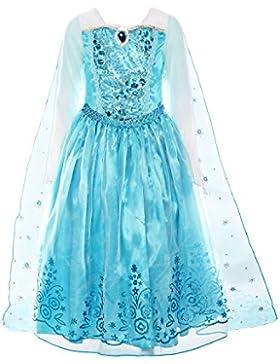 ReliBeauty Ragazza Gonna Frozen Girls Dress Elsa Principessa Abito Costumi Maniche Lunghe Piegare Vestito Con...