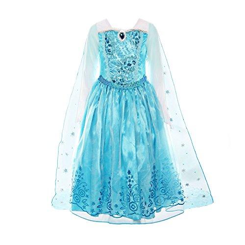 ReliBeauty Mädchen Kleid Prinzessin ELSA Eiskönigin Langarm Falten Pailletten Schneeflocken Kostüm, Hellblau, 122-128(Etikett ()