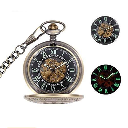 JTKDL Klassische Geschnitzte römische Hohle automatische mechanische Taschenuhr mit Kette Handaufzug mechanisches Uhrwerk Steampunk Flip Vintage männliche Geschenk-Taschenuhr mit Kette