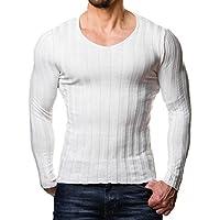 Yying Camisetas De Punto con Cuello En V para Hombre con Ajuste En Forma De Camiseta Camisetas De Cuello Alto con Cuello En V para Mayor Tamaño M-3XL