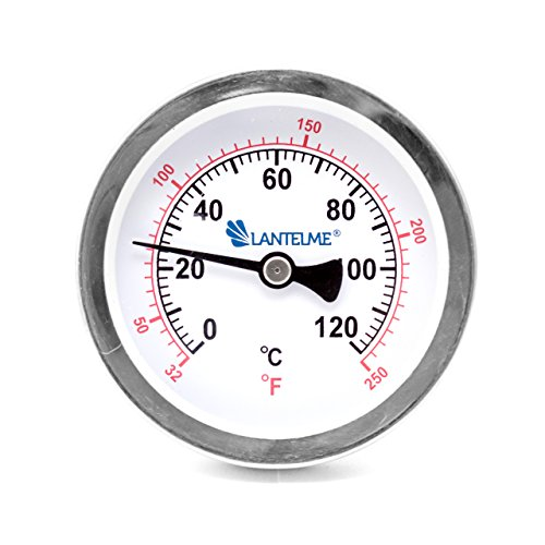 Lantelme 4672 - 120 °C Grad Thermometer für Heizung mit Messing Tauchhülse . Zeigerthermometer Skala schwarz - Analog und Bimetall (Wasser Heizung Zubehör)