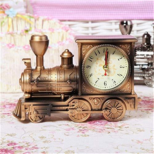 BaBaSM Retro Zug Wecker, Retro Train Style Wecker Kinder Geschenk Tisch Schreibtisch Quarz Wecker (Farbe : Bronze)