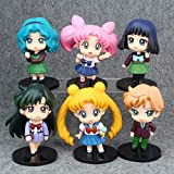 Yvonnezhang 6 Pz / Set Anime Sailor Moon Tsukino Usagi Mizuno Ami Tenoh Haruka Sailor Saturn Hino REI Cartoon Action PVC Figure Giocattoli di Modello