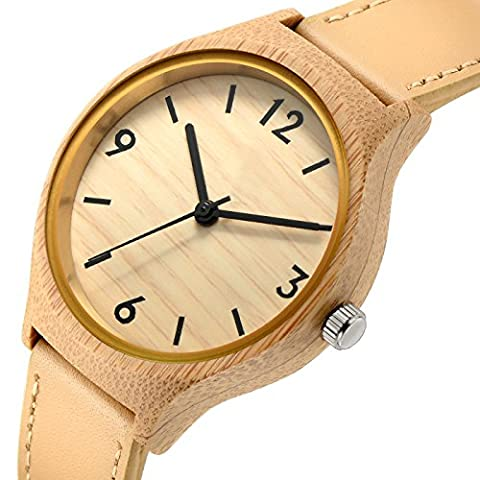 Affute Women's Quartz Analog Bamboo Wood Case Leather Strap Watches