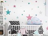 I-love-Wandtattoo WAS-10442 Kinderzimmer Wandsticker Set Sterne mit bunten Mädchenfarben in Pastell 25 Stück Sternenhimmel zum Kleben Wandtattoo Wandaufkleber Sticker Wanddeko