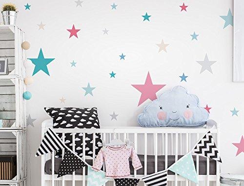 I-love-Wandtattoo WAS-10442 - Set de pegatinas de pared para habitación infantil, estrella con las niñas de colores en colores pastel, 25 unidades, estrellado para pegar, adhesivos de pared, pegatinas, decoración de la pared
