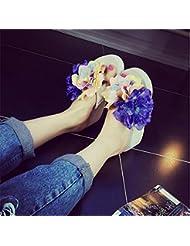 JIAJIA Zapatillas de Playa Linda flores espiga slip zapatillas 36 37 38 39 3 4 5 6 7 8 9 10 11 12 13 14 , purple orchid , 37