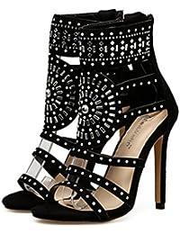 Liquidación! Sandalias de tacón alto para mujer Covermason Romano exótico Tacones altos Verano Club de lujo Zapatos(38 EU, Negro)