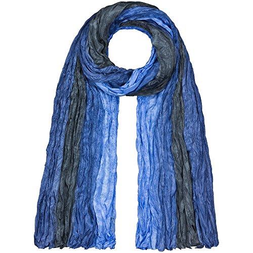 Japanwelt Seidenschal 100% Seide - elegantes Damen Halstuch gekreppt Crash-Schal 90x180 cm Farbverlauf Blau Grau Hellblau