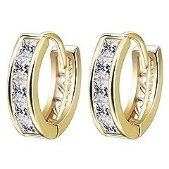 Idea Regalo - Orecchini da donna ad anello, piccoli, semplici, in stile vintage, placcati oro 18K, con zirconi sintetici rotondi