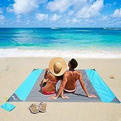 OUSPT Alfombras de Playa, Manta Picnic Impermeable 210 * 200cm Anti-Arena con 4 Estaca Fijo para la Playa, Picnic, Acampa y Otra Actividad al Aire Libre