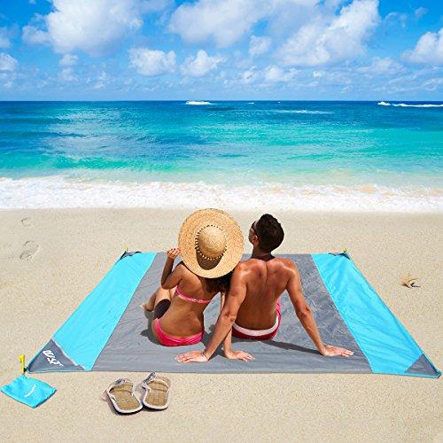 OUSPT Coperta da Spiaggia, Tappetino da Picnic Anti Sabbia 210 * 200cm Portatile Impermeabile con Reticule e 4 Picchetti Fixed per Picnic, Spiaggia, Escursionismo, Campeggio e Altro