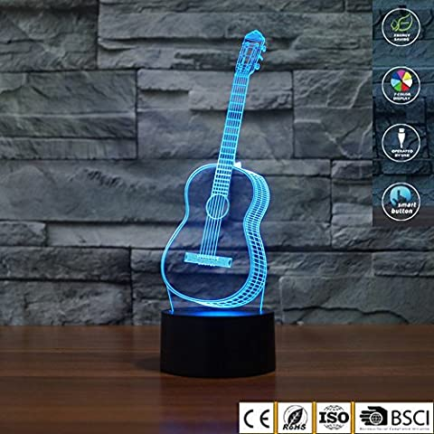 3D Illusion Lamp jawell Night Light Guitar 7Changing Colors Touch USB Table Nice Gift Toys Decorations