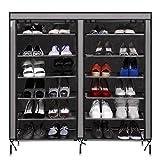 Flabor 12-Gitter Schuhregal mit 6 Ebenen 110 x 30 x 118cm Schuhschrank mit 4-Seitentaschen platzsparend Schuhständer