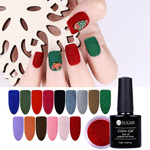 coulorbuttons 1 Box Samt Nail Puder mit 7,5 ml UR Zucker bunten Gel Polish Base Coat Top Coat Weihnachten Neues Jahr Stil Nail Art Gel Politur Dekoration Base Coat (Beige Tattoo-stuhl)