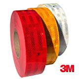 #5: Clickforsign 3m High Intensity Reflective ECE 104 Compliant Government Approved Tape 2 inch x 2 Ft White, Red and Yellow, Pack of 3 Strips or Rolls