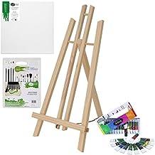 Artina London - Set de pintura para niños - Caballete de pintura de mesa (pino), acrílicas, pinceles y lienzo pequeño