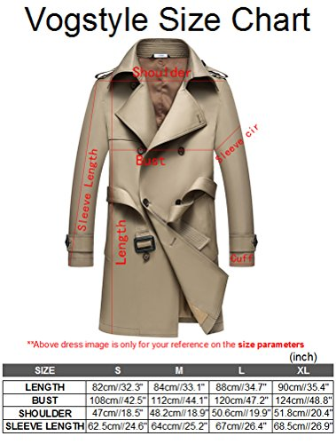 Vogstyle Herren 2016 Neu Winter Mantel Jacke Slim Fit Herrenmode Baumwolle WärmeJacke Trench Coat (8987) Fleece Khaki