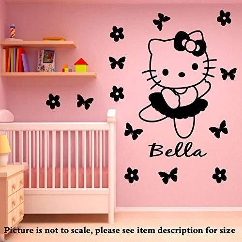 Hallo Kitty personalisierte Name Wandaufkleber Vinyl Aufkleber mit 14 Blumen Disney Wandbild Kinderzimmer Dekor Wandkunst