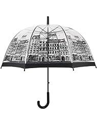 Tiny fin Angleterre Style Champignon Transparent Parapluie moitié Auto Forme de dôme Long manche parapluies de pluie pour femmes et enfants