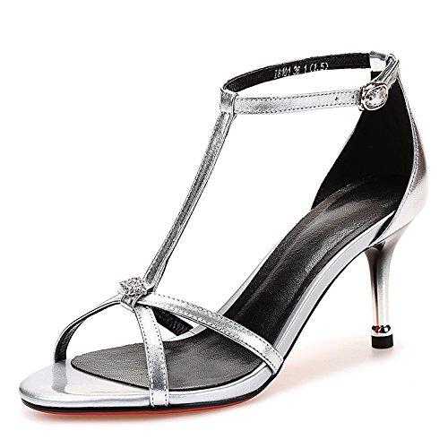 Sommer Schnalle mit nackten Füßen reine Farbe Hohle Leder High Heel Sandalen Fine Heel weiblich silvery