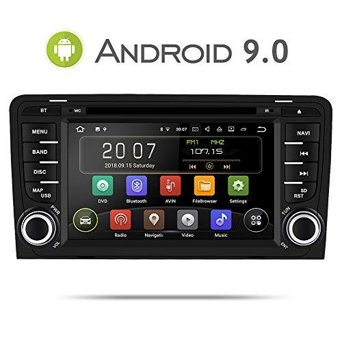 Aumume Android 9.0 Autoradio für Audi A3/S3 mit Navi, Unterstützt Autoplay Mirrorlink Bluetooth DAB (mit 16 GB Karte)