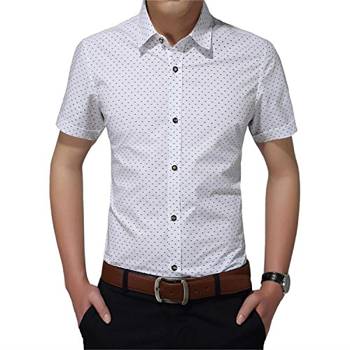 AIYINO Mens 100% Cotton Casual Slim Fit Short Sleeve Button Down Dress Shirt in 5 Colors