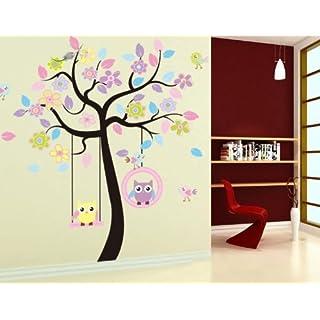 A-SZCXTOP Eule & Baum Wandtattoo Wandaufkleber Wall sticker Wanddekoration Wohndeko Kinderzimmer Babyzimmer Jugendzimmer Wohnzimmer